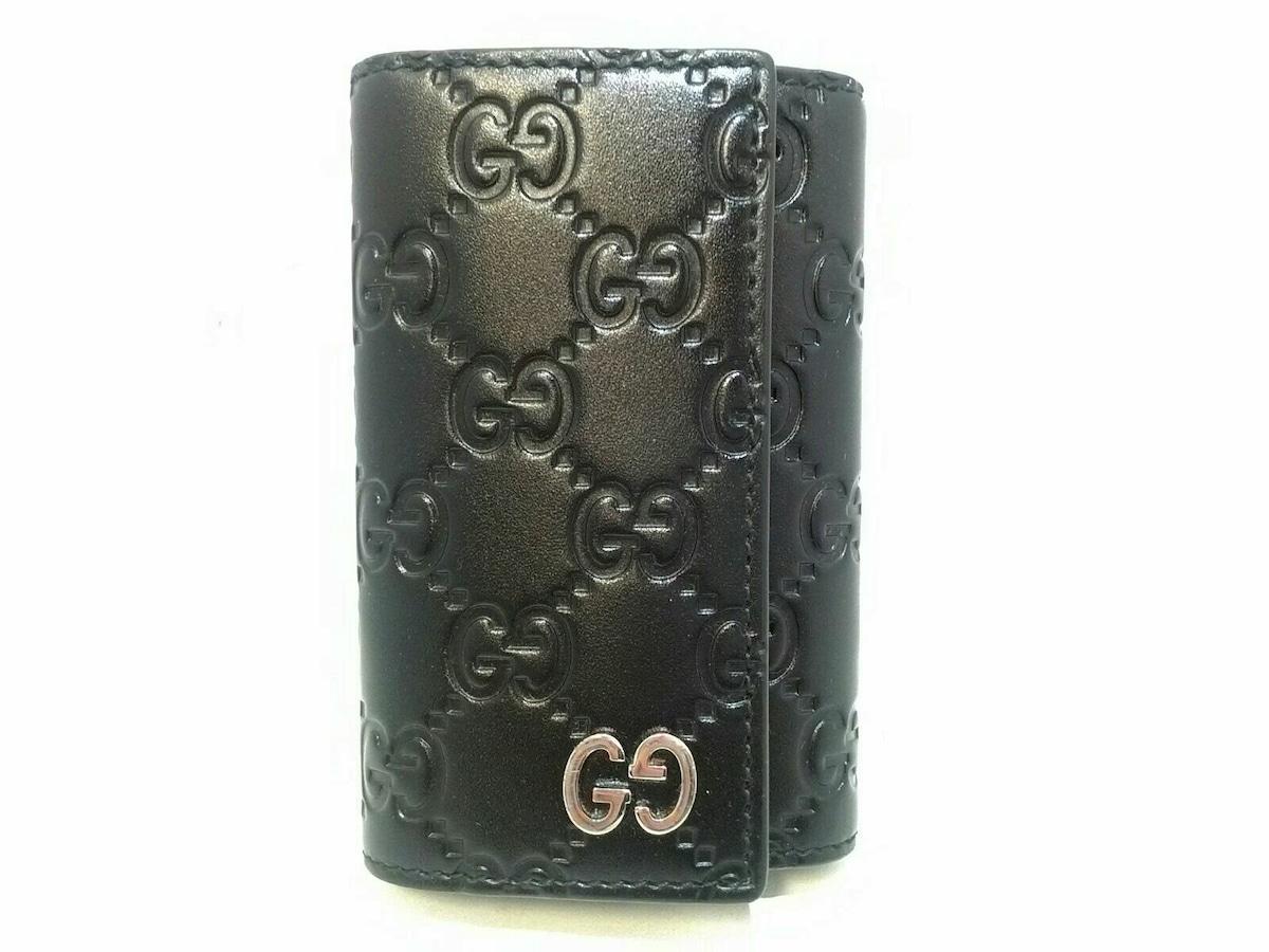 innovative design 38456 9cea0 GUCCI(グッチ) キーケース美品 シマライン 473924 黒 レザー