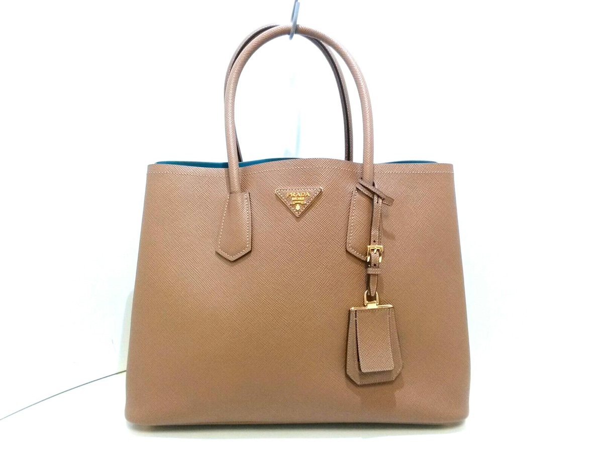 76f44337690a ... sale image is loading auth prada double bag brown saffiano cuir tote  68782 92b7b ...