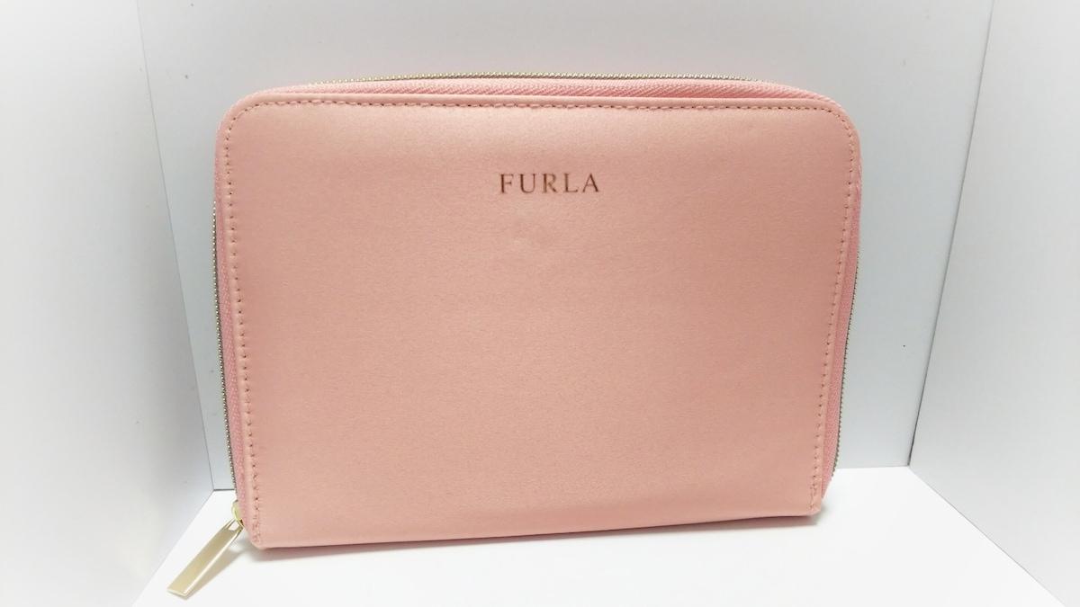 406916ca3598 FURLA(フルラ) 財布美品 ピンク ラウンドファスナー サテン(13085805 ...