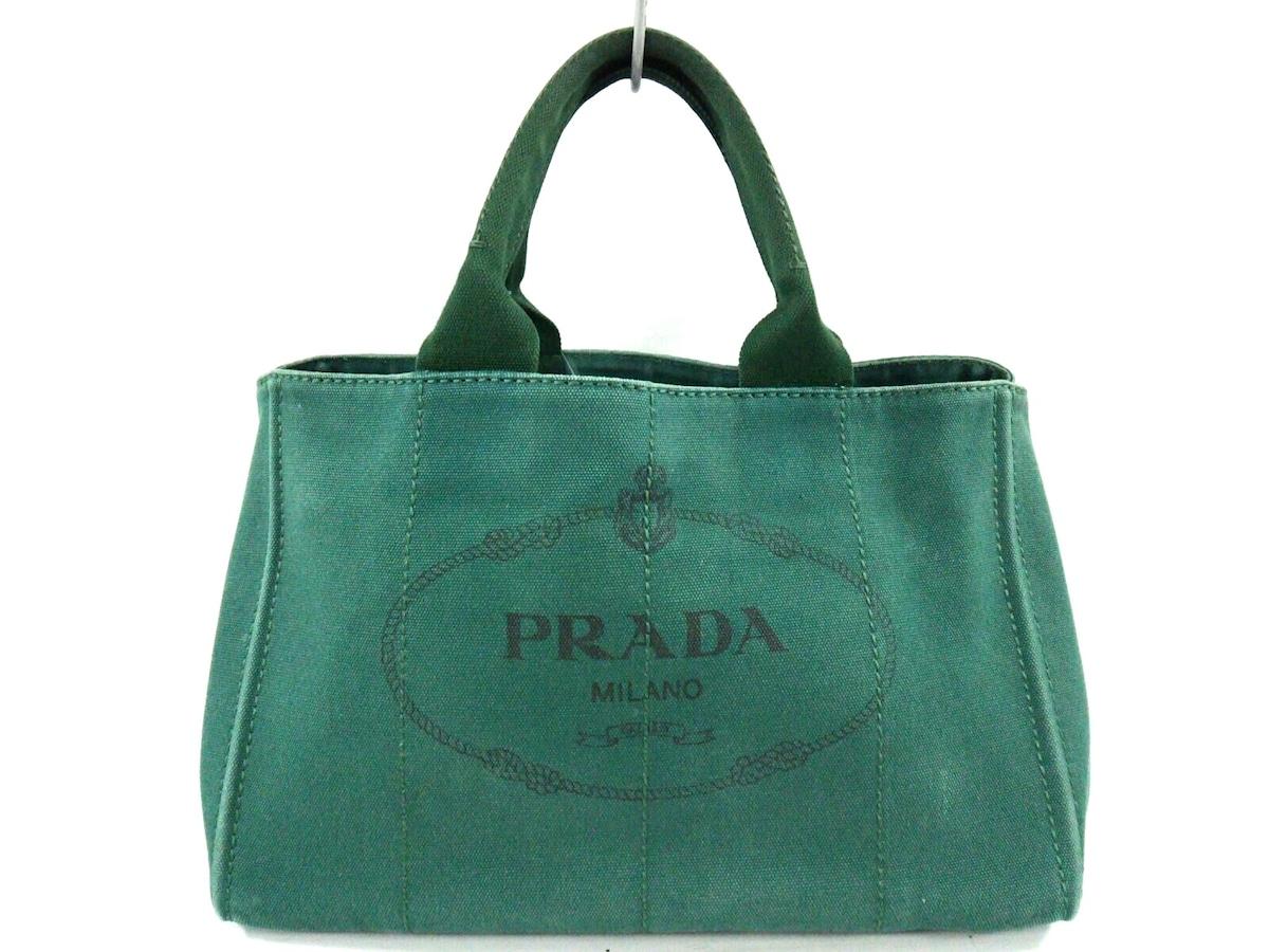 148f46cd2462 PRADA(プラダ) トートバッグ美品 CANAPA グリーン キャンバス(12692253 ...
