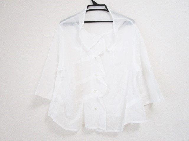 慈雨(ジウ/センソユニコ)のシャツブラウス 白
