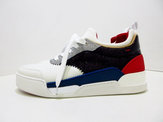 new style aa6f8 6406b AUTH CHRISTIAN LOUBOUTIN Aurelien Flat 3180364 White Black Sneakers US #6.5