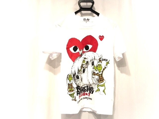 PLAY COMMEdesGARCONS(プレイコムデギャルソン)のTシャツ 白×レッド×マルチ