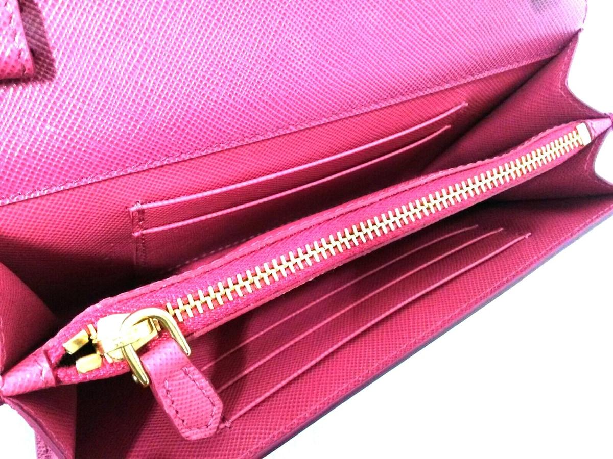 8d5d687d6091 ... プラダ 財布美品 - 1M1437 ボルドー×ピンク ショルダーウォレット ...
