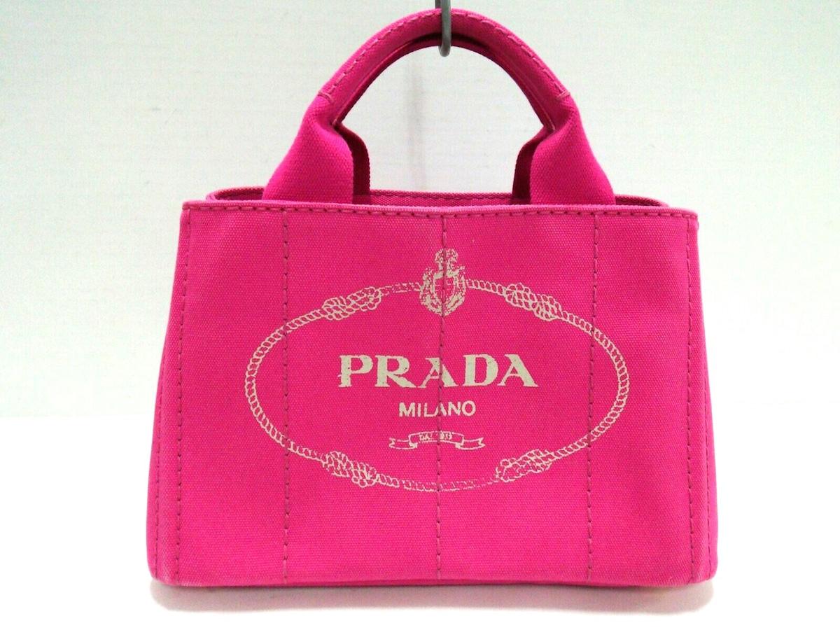 0d25349d2595 PRADA(プラダ) トートバッグ CANAPA ピンク キャンバス(12839119)中古 ...