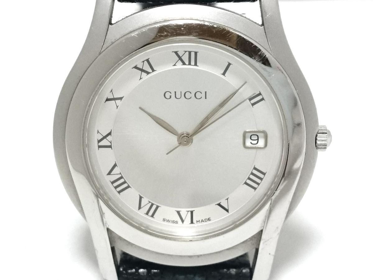 ce773c932ff1 GUCCI(グッチ) 腕時計 5500M メンズ 革ベルト シルバー×白(12962728 ...