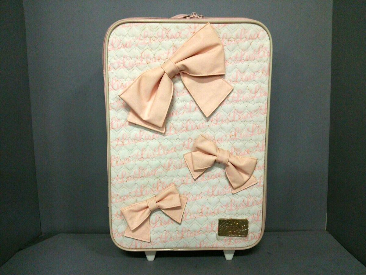 5f1aa8b18206 リズリサ キャリーバッグ ピンク×白×ベージュ リボン 合皮(12859164 ...