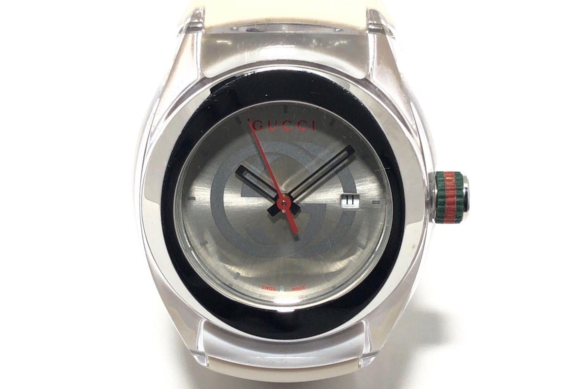 c73e12516d4c GUCCI(グッチ) 腕時計 137.1/YA137302 メンズ ラバーベルト シルバー ...