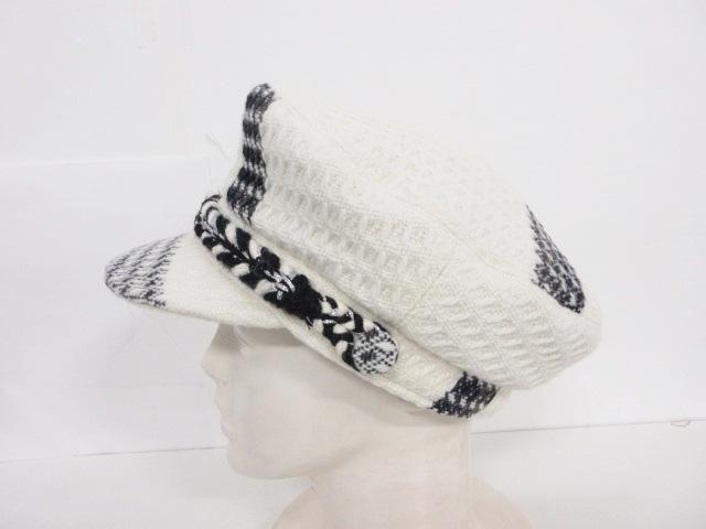 6b83a32bbe83 ... CHANEL(シャネル) 帽子 M アイボリー×黒 ツイードキャスケット ...