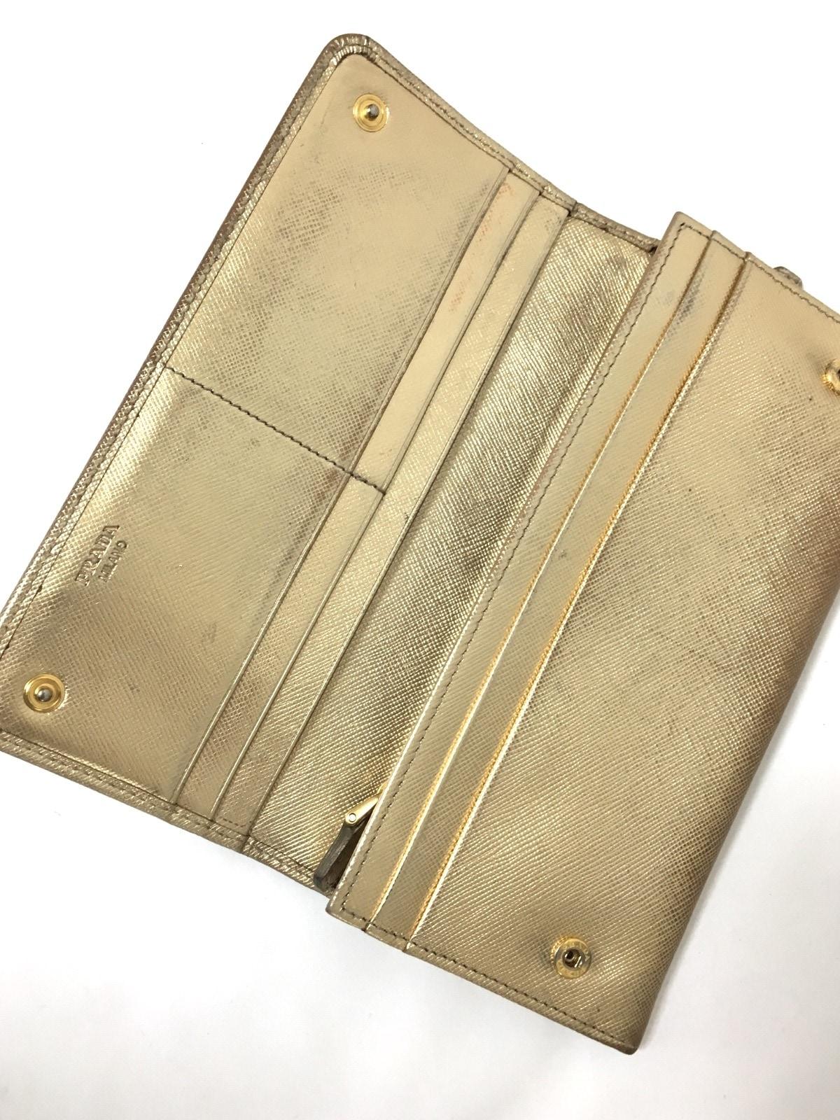 087d2c9ad0a6 PRADA(プラダ) 長財布 - ゴールド リボン レザー(13124118)中古 ...