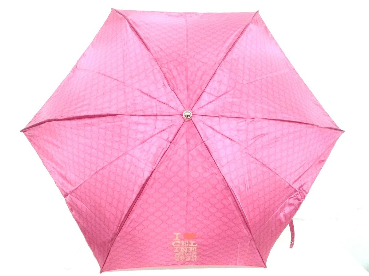 1b1cd1ad035a セリーヌ 折りたたみ傘 マカダム柄 ピンク×ゴールド×レッド(13151584 ...