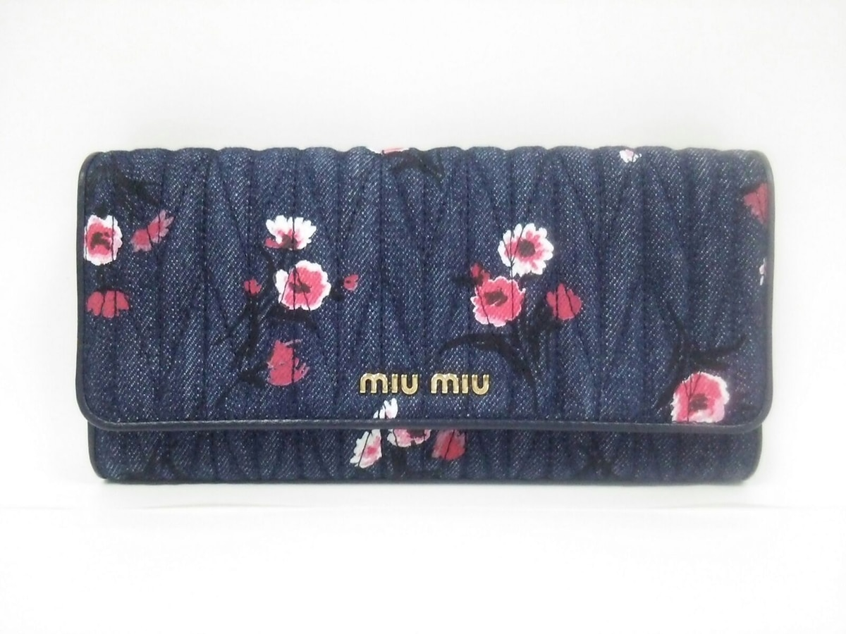 check out ae130 cbcb5 miumiu(ミュウミュウ) 長財布美品 ギャザーウォレット 5MH109 花柄