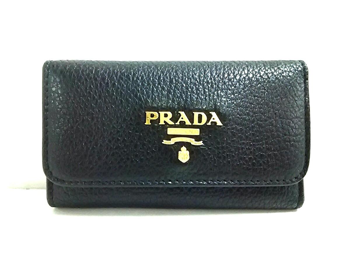 low priced f4286 9017f PRADA(プラダ) キーケース美品 - 1M0222 黒 6連フック レザー
