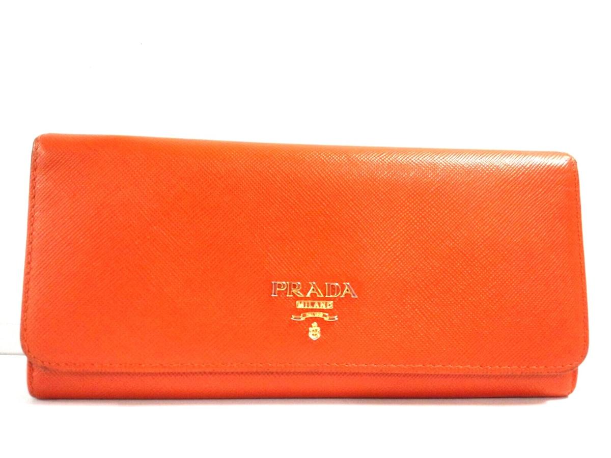 c26747b2718f PRADA(プラダ) 長財布 - オレンジ サフィアーノレザー(13458545)中古 ...