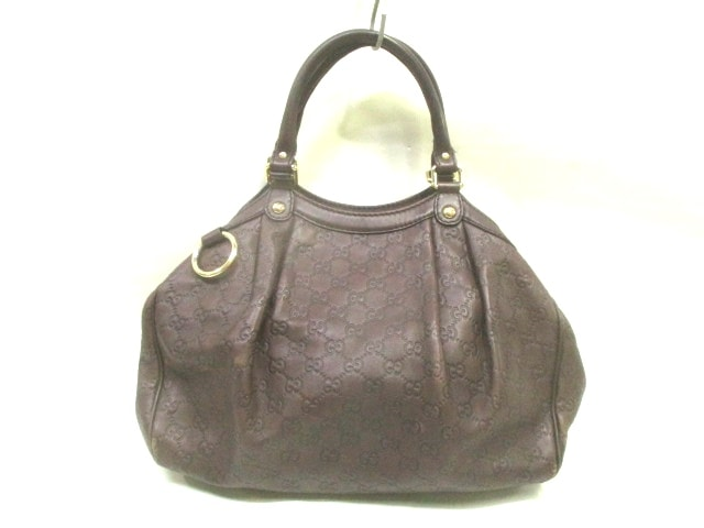 10f5ca1bd3c0 Image is loading Auth-GUCCI-Sukey-Guccissima-211944-DarkBrown-Leather-Tote-