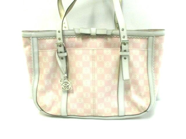 quality design 1c8d2 dd8d9 LOEWE(ロエベ) ショルダーバッグ アナグラム柄 - ピンク×白 リボン