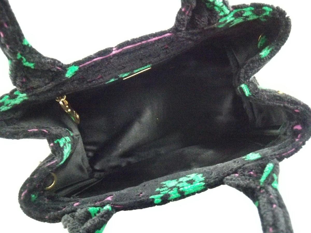 789877c3829a ... プラダ トートバッグ新品同様 CANAPA 1BA038 黒×グリーン×ピンク ...