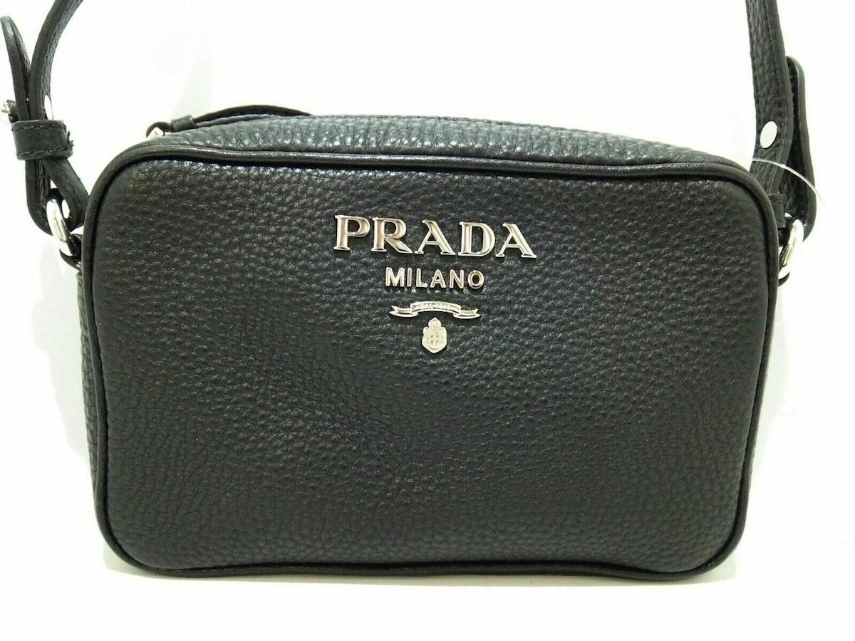 0d0f8e05836a PRADA(プラダ) ショルダーバッグ新品同様 - 黒 革タグ レザー(13429529 ...