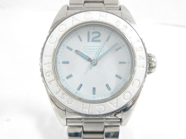 new product de0f8 d13d9 COACH(コーチ) 腕時計 CA.54.7.29.0513 メンズ 白×ライトブルー