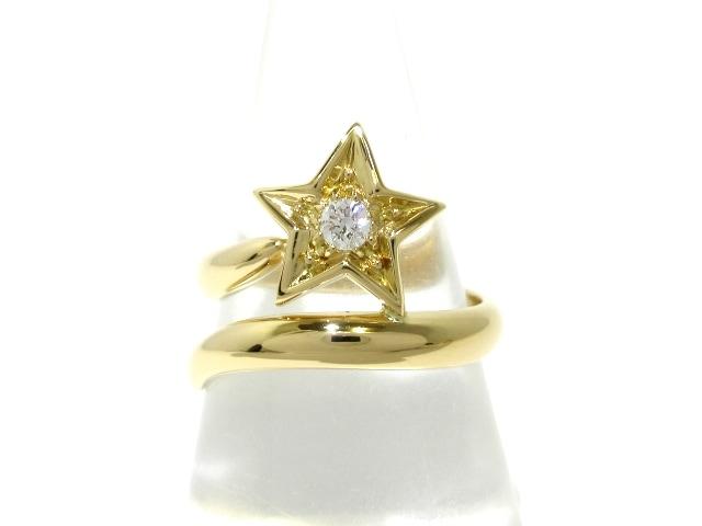 ae1eaa0233f1 シャネル リング 53美品 コメット K18YG×ダイヤモンド 1Pダイヤ ...