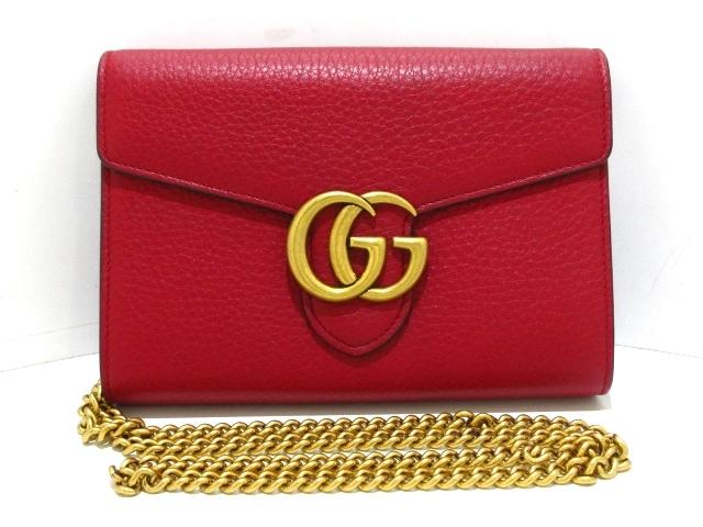 sale retailer 54ab8 720ee グッチ 財布美品 GGマーモント 401232 レッド チェーンウォレット