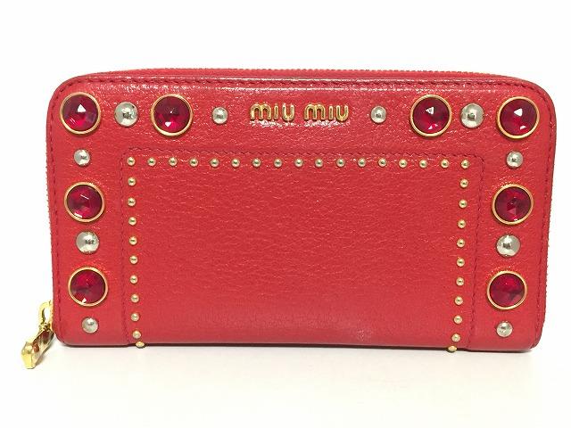 new concept ce767 f1d1b miumiu(ミュウミュウ) 長財布 - レッド レザー