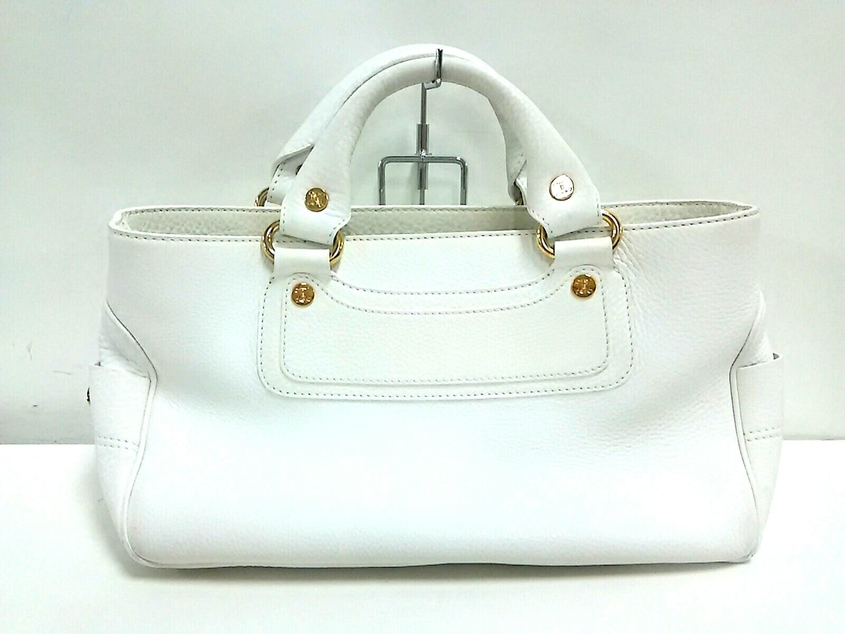 newest adf90 84459 CELINE(セリーヌ) トートバッグ ブギーバッグ 白 レザー