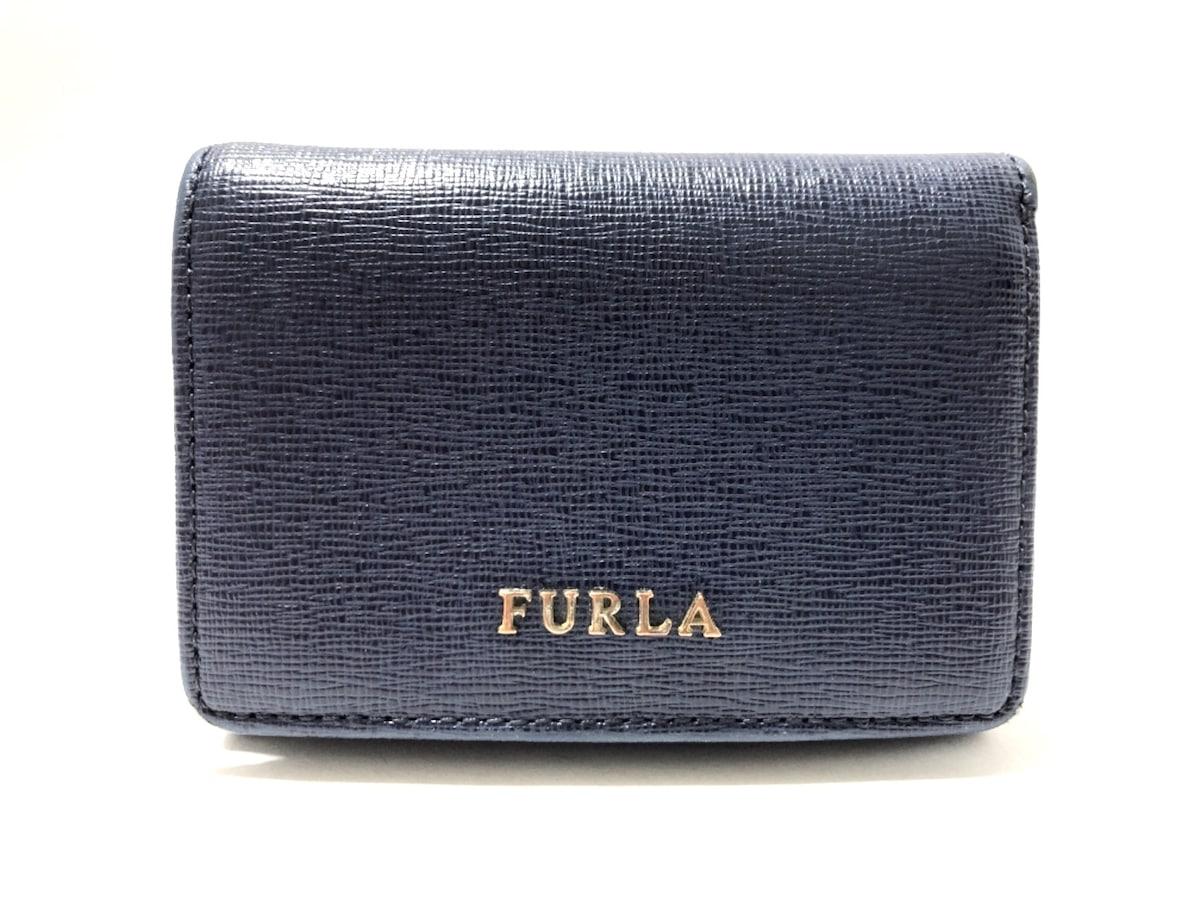 brand new 4cd07 78409 FURLA(フルラ) Wホック財布 ネイビー ミニ財布 レザー
