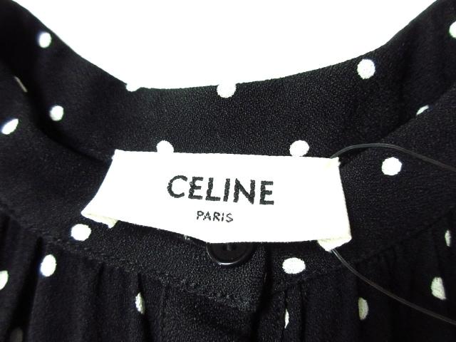 CELINE(セリーヌ)のフォークボタンプラケット付きミディドレス / ドットプリントビスコース
