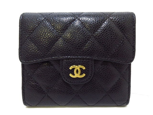 CHANEL 3つ折り財布 マトラッセ /A82288 /グレインドカーフスキン/黒