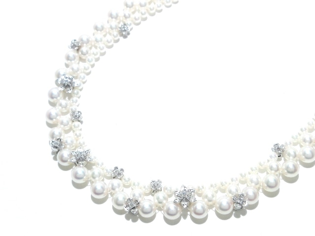mikimoto(ミキモト)/チョーカー/18金(K18WG)×アイボリー×ダイヤモンド