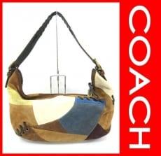 COACH(コーチ)のスエードパッチワークショルダーのショルダーバッグ