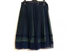 サカイ 巻きスカート レディース美品  ネイビー×グリーン ドット柄 0