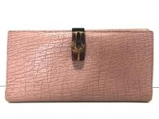 144ba8cb13a8 GUCCI(グッチ) 長財布 バンブー - ピンク×ダークブラウン レザー