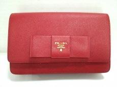 9fff2234d7ad プラダ 財布美品 - 1M1437 ボルドー×ピンク ショルダーウォレット ...