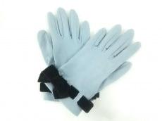 FOXEY(フォクシー) 手袋 レディース ライトブルー×黒 コットン