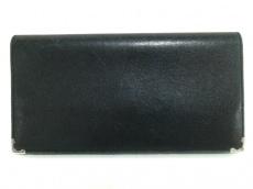 カルティエ 長財布 カボション 黒×シルバー レザー×金属素材