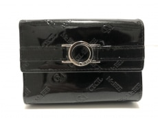セシルマクビー 3つ折り財布 黒 がま口 PVC(塩化ビニール)