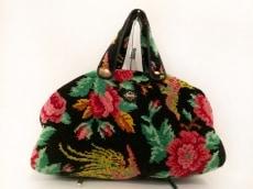 FEILER(フェイラー) ハンドバッグ 黒×レッド×マルチ 花柄 パイル