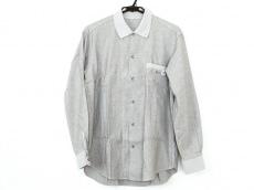 パパス 長袖シャツ サイズL メンズ美品  グレー×白 ストライプ