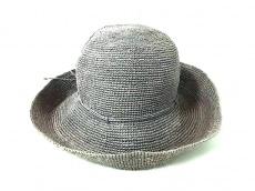 ヘレンカミンスキー 帽子 グレー×イエロー ラフィア
