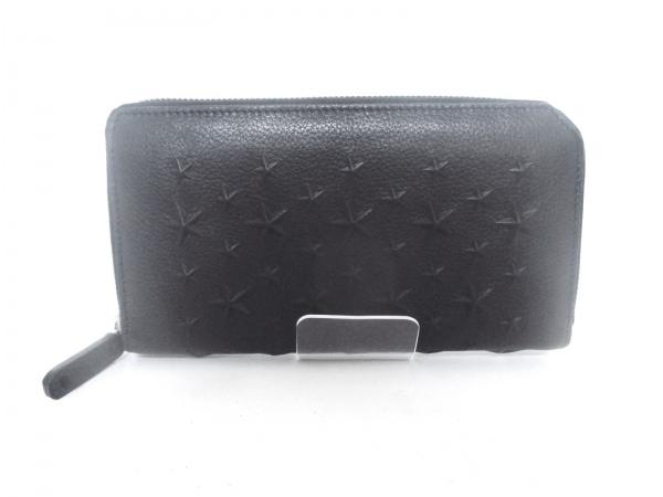 ジミーチュウ 長財布美品  フィリッパ 黒 型押し加工/ラウンドファスナー レザー