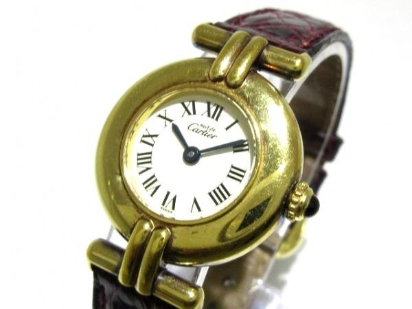 カルティエ 腕時計 ヴェルメイユ 590002 レディース 革ベルト/925 アイボリー