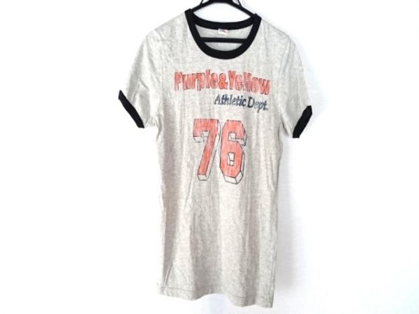 パープル&イエロー 半袖Tシャツ サイズS