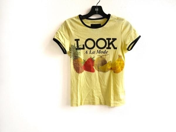 ドレスキャンプ 半袖Tシャツ サイズ38 M レディース美品  ゴールド×黒 フルーツ柄