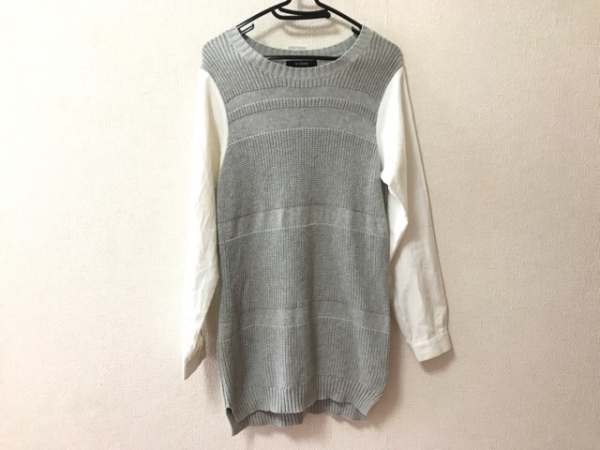 w closet(ダブルクローゼット) 長袖カットソー サイズF メンズ ライトグレー×白