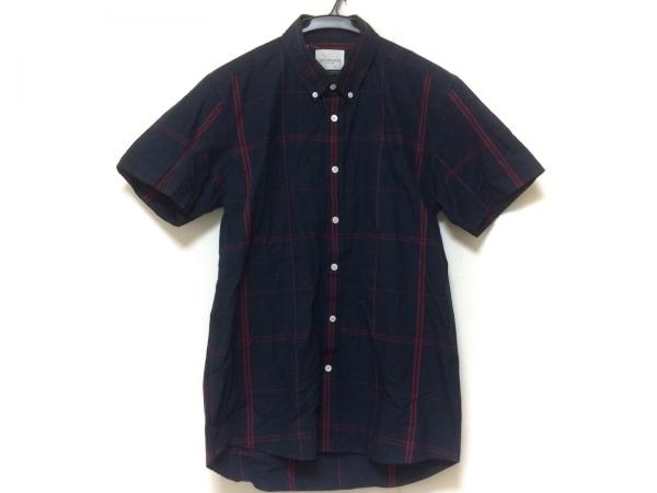 サタデーズ サーフ ニューヨーク 半袖シャツ サイズM メンズ美品  ネイビー×レッド