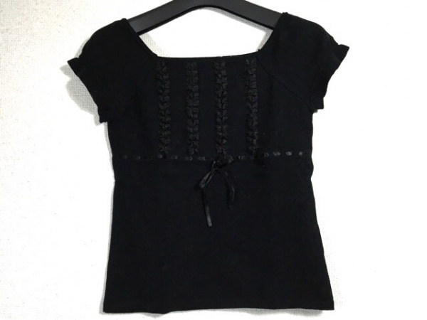 カールパークレーン 半袖セーター サイズ9 M レディース 黒 リボン/フリル