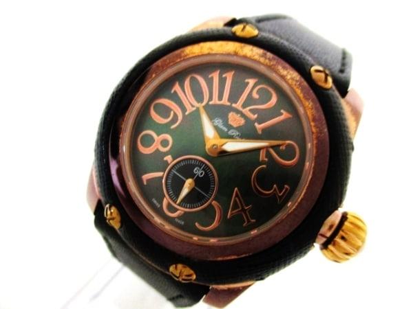 グラムロック 腕時計 - メンズ 革ベルト 黒