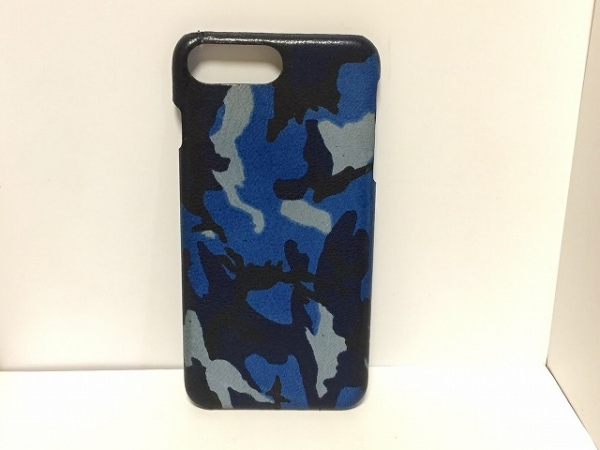 【中古】 メゾンタクヤ MAISON TAKUYA 携帯電話ケース ブルー ダークネイビー 黒 iPhoneケース レザー